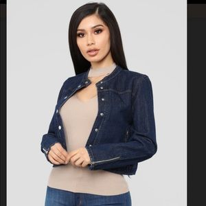Fashion Nova Dark Wash Jean Denim Jacket XS